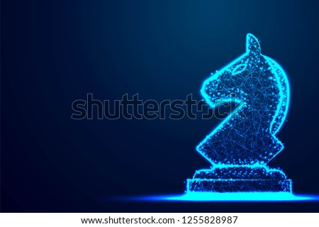 chess knight wireframe polygon