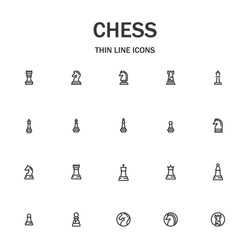 Chess line icon set. Collection of modern signs for web design and mobile app. Business pictograms. Black icon on white background. Collection of high-quality outline logo