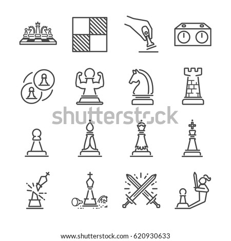 Chess line icon set. Included the icons as horse, knight, checkmate, strategy and more.