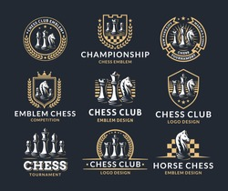 Chess logo set - vector illustration, emblem design on a dark background