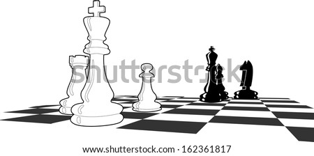 Chess match with few figures left, final stages, final shoot down, black and white vector illustration