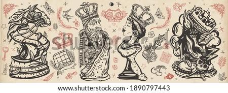 chess old school tattoo vector