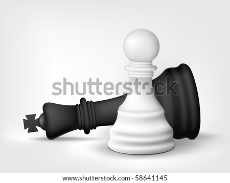 Chess Pawn and King Isolated on White. Vector.