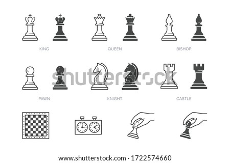Chess piece line icon. Vector outline illustration of pawn, knight, queen, bishop, horse, rook. Checkmate board pictorgam Photo stock ©