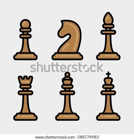 chess pieces figures minimal