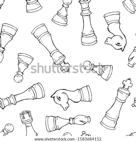 Chess pieces seamless pattern. Vector illustration set of chess pieces seamless pattern. Background of chess pieces.
