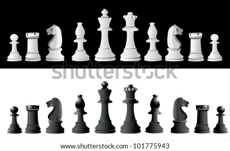 Chess pieces set A complete set of chess pieces. No meshes used.