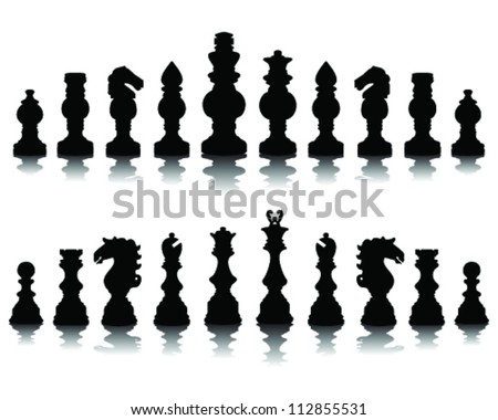 Chess pieces silhouette 3, vector