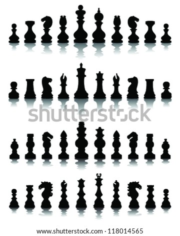 Chess pieces silhouette 4, vector