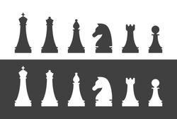 Chess pieces silhouettes. King, queen, bishop, knight, rook and pawn figures isolated set. Sport equipment for strategy game vector illustration. Chess tournament, professional sport competition.