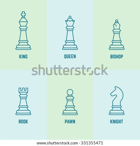 Chess pieces with named vector outline icons (king, queen, bishop, rook, knight, pawn)