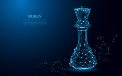 Chess Queen symbol of power. Abstract image of a luxury power in the form of a starry sky or space. Queen vector wireframe concept. abstract polygon vector design. Vector business. Poly art