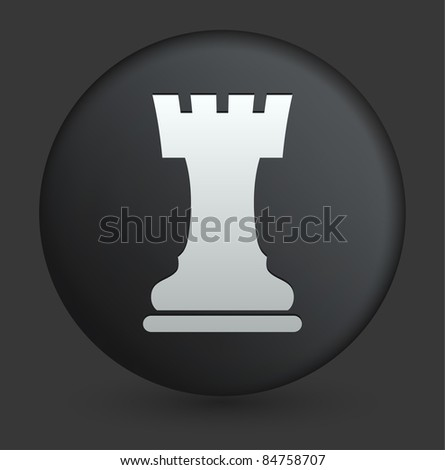 Chess Rook Icon on Round Black Button Collection Original Illustration