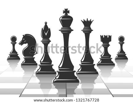Chess strategy concept. Chesspieces silhouettes with shadows on chessboard background, checkmate success strategy vector illustration
