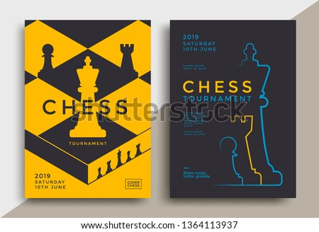 Chess tournament poster template. Sport game flyer design.
