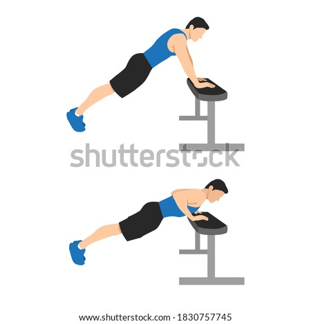 Chest Exercises. Incline Push Up. Flat Design Bodybuilder Character push up on a bench. Foto stock ©