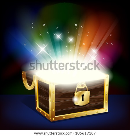 Chest with glowing treasure - vector file Сток-фото ©