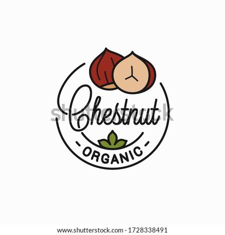 Chestnut nut logo. Round linear logo of chestnut on white background Foto stock ©