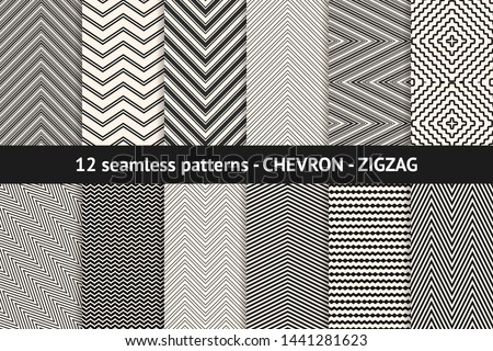 Chevron pattern collection. Vector geometric seamless textures with stripes, lines, streaks, zigzag shapes. Set of black and white minimal abstract background swatches. Monochrome repeatable design