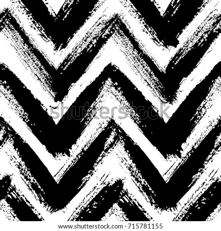 Chevron pattern. Seamless brush stroke rounds. Sketchy hand drawn graphic print. Grunge vector design. Black and white background. Grungy wallpaper, furniture fabric, fashionable textile.