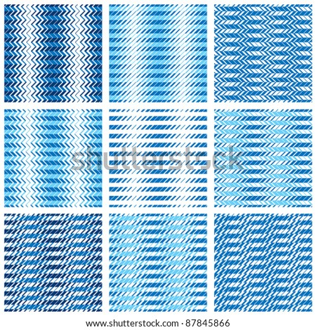 Chevron seamless patterns set, vector backgrounds.