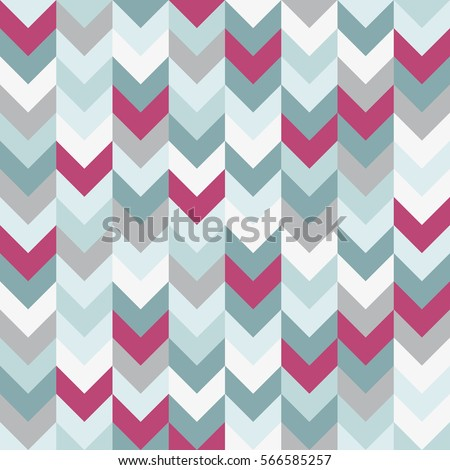 Chevron zigzag seamless pattern vector background arrows geometric design in mixed order colorful white pink light blue grey aqua - Shutterstock ID 566585257