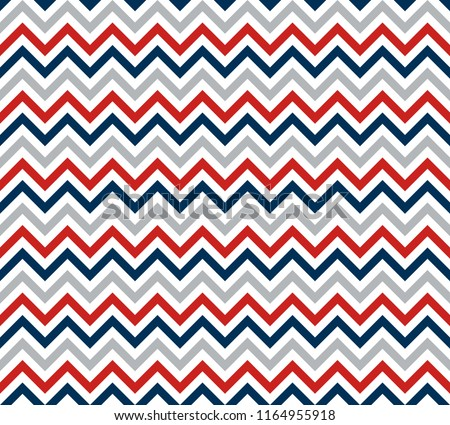 Chevron Zigzag Wave Seamless Pattern Red Blue White. Vector.