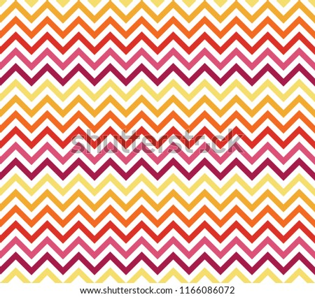 Chevron Zigzag Wave Seamless Pattern Yellow Red. Vector.