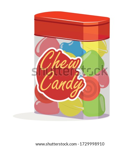 chewing gum Candy box of colorful candy bars, dragee, lollipop, toffee, jelly, peppermint candy, chocolatevector illustration.  Sweet candies. eps vector.