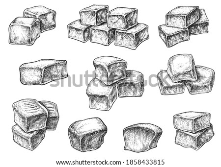 Chewy toffee sweet caramel sugary candy cube form sketch. Delicious confection dessert snack food made from sugar syrup and milk single and stack vector illustration isolated on white background