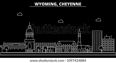 Cheyenne silhouette skyline. USA - Cheyenne vector city, american linear architecture, buildings. Cheyenne travel illustration, outline landmarks. USA flat icon, american line banner