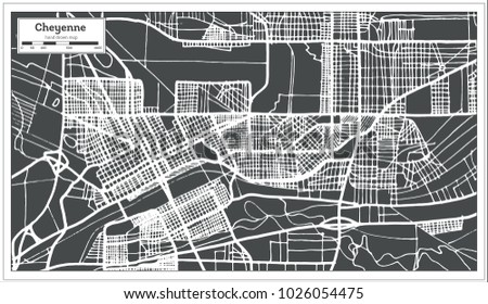 Cheyenne USA City Map in Retro Style. Outline Map. Vector Illustration.