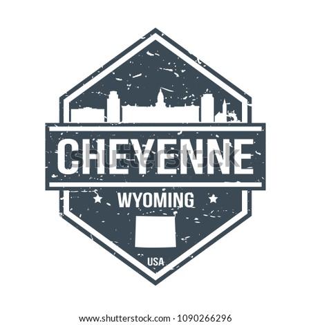 Cheyenne Wyoming Travel Stamp Icon Skyline City Design Tourism