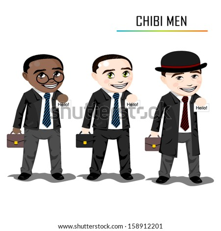 chibi businessman vector