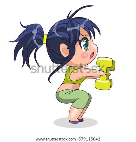 chibi girl go in for sports