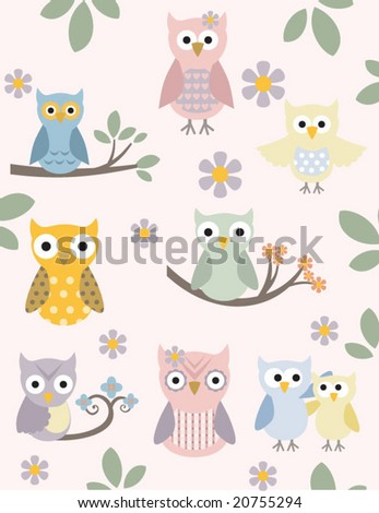 Chic and adorable owl illustration set