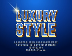 Chic Blue and Golden Font. Luxury 3D Alphabet Letters, Numbers and Symbols.