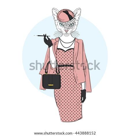 chic cat woman  furry art