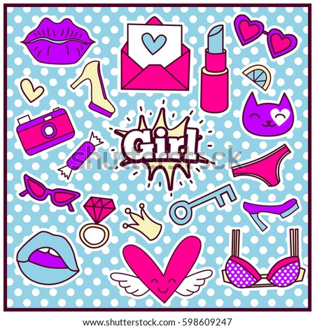 Chic Fashion Summer Patch Badges with Bra, Hearts, Crown, Lemon, Cat, Lips, Ring, Letter, Sunglasses, Shoes, Camera, Key, Lipstick. Set of Stickers, Pins, Patches in Cartoon 80s-90s Comic Style.