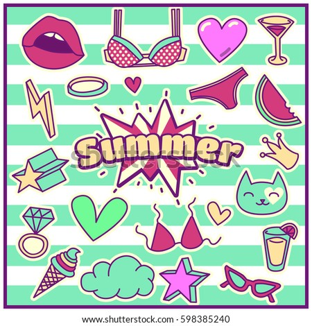 Chic Fashion Summer Patch Badges with Bra, Hearts, Stars, Crown, Ice Cream, Cat, Lips, Ring, Cloud, Watermelon, Sunglasses, Juice. Set of Stickers, Pins, Patches in Cartoon 80s-90s Comic Style.
