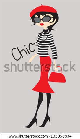 Chic girl dressed in french style
