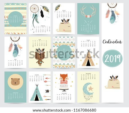 Chic monthly calendar 2019 with tent,whale,feather,arrow,dreamcatcher,fox,rabbit,cake and wild in boho and bohemian style