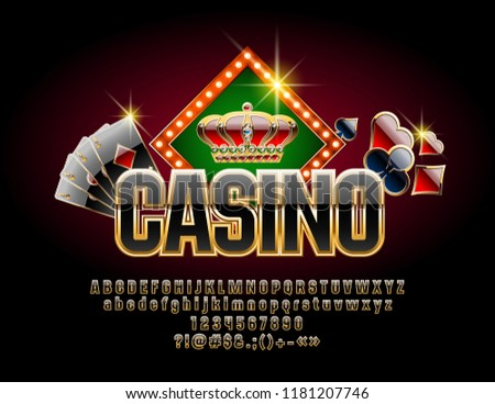 Chic Vector Logotype for Casino with Luxury Font. Set of Black and Gold Letters, Numbers and Symbols.