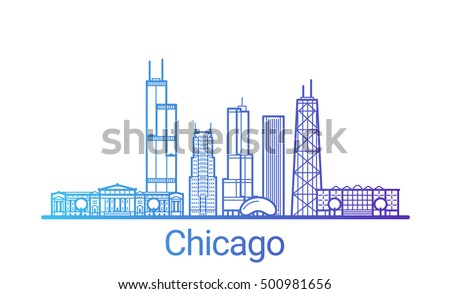 Chicago city colored gradient line. All Chicago buildings - customizable objects with opacity mask, so you can simple change composition and background fill. Line art.