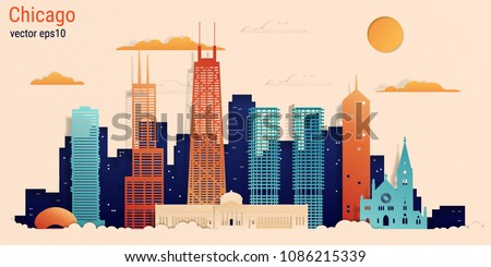 Chicago city colorful paper cut style, vector stock illustration. Cityscape with all famous buildings. Skyline Chicago city composition for design