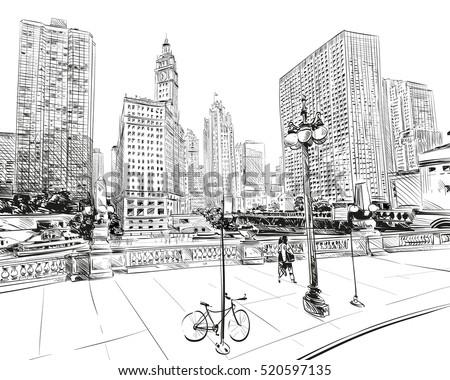 Chicago city hand drawn. Street sketch, vector illustration
