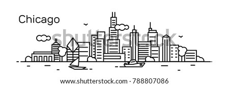Chicago city. Modern flat line style. Vector illustration