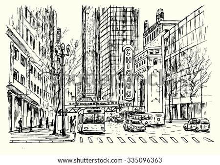 chicago city scene hand drawn