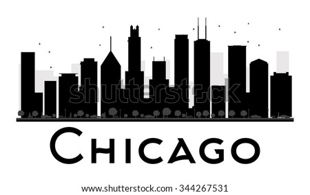 chicago city skyline black and