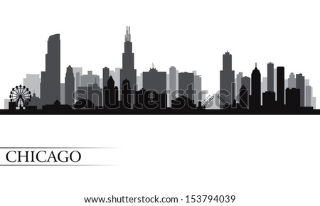 Chicago city skyline detailed silhouette. Vector illustration